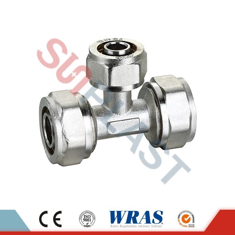 Té égal de compression en laiton pour tuyau PEX-AL-multicouche PEX