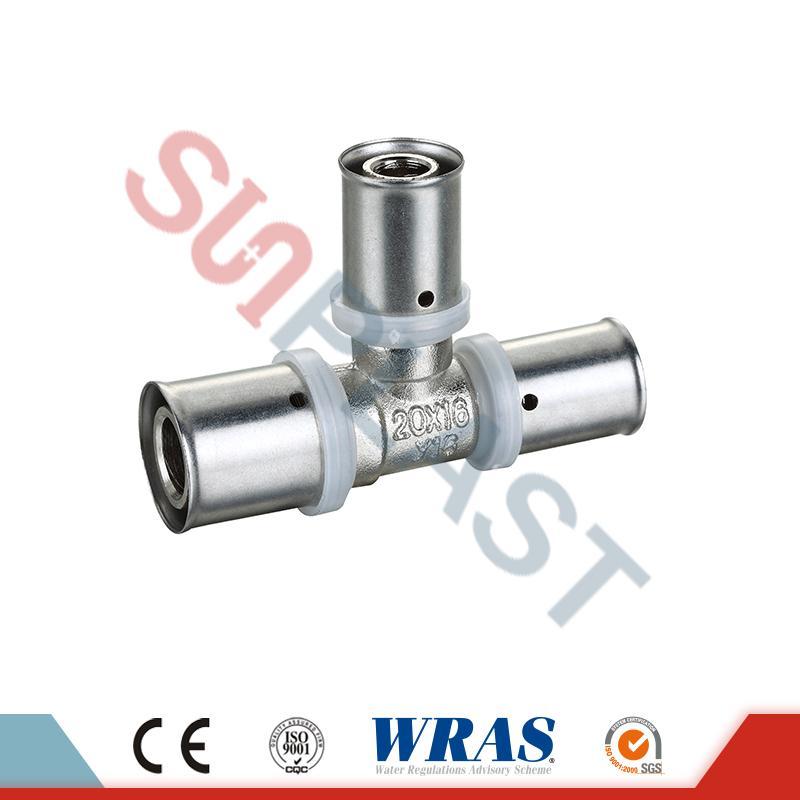 Té égal presse en laiton pour tuyau PEX-AL-multicouche PEX