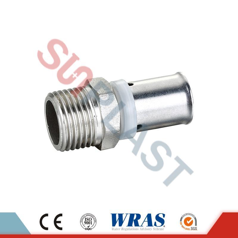 Raccord mâle de presse en laiton pour tuyau multicouche PEX-AL-PEX